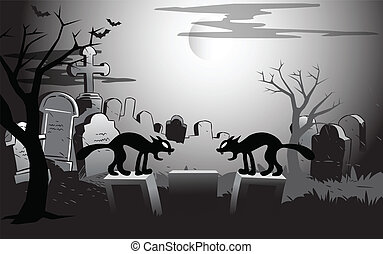 on Halloween night at the cemetery