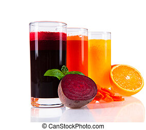 juice drink - Beetroot, orange and carrot juice isolated on...