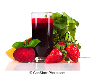 juice drink - Beetroot juice,Healthy drink isolated on white...