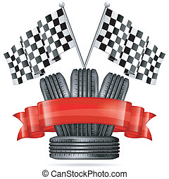 Racing Concept - Tires with Flags and Ribbon, vector...
