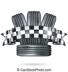 Racing Concept - Tires with Checkered Ribbon, vector...
