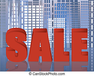 Sale city abstract card, vector