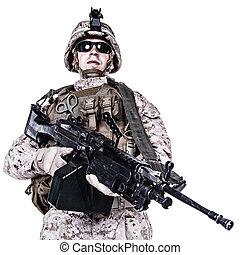 US marine studio shot on white background - US marine with...