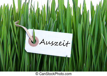 White Banner with Auszeit - White Banner with the German...