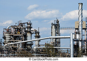 Oil Refinery - close view of petro chemical factory