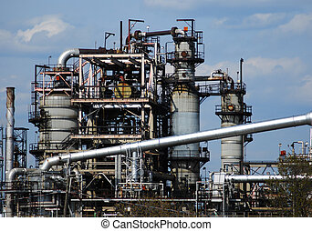 Oil Plant - close view of petro chemical factory