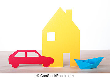 House, Boat and Car - A Paper House, Boat and Car, Isolated