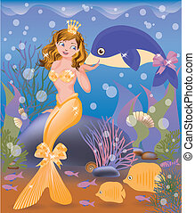 Beautiful golden mermaid girl and dolphin, vector