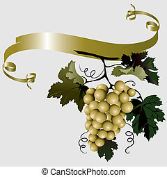 Grapes With Leaves And Ribbon, editable vector illustration