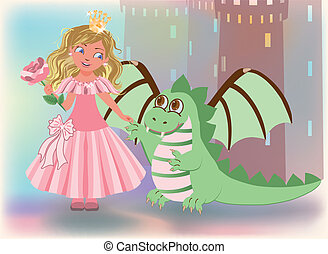 Cute princess with rose and dragon,