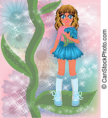 Young cornflower girl, vector illustration
