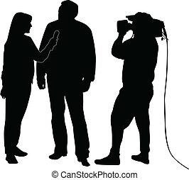 entrevista, silueta, vector