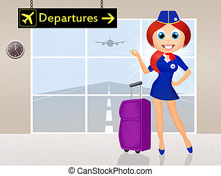 stewardess  - illustration of stewardess in airport