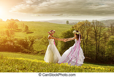 2 beautiful bride in the morning , the idyllic meadow ,...