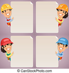 Builders Cartoon Characters Looking at Blank Poster Set. In...