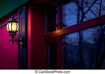 Street lamp - Vintage street lamp at the evening with...