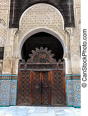 Gate of bou inania medrasa - Gate at the courtyard of bou...