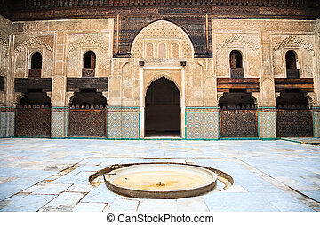 Courtyard of bou inania madrasa in fez, morocco