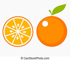Orange fruit slice - Orange fruit with leaf and slice Vector...