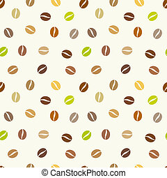 Coffee beans background. Vector seamless pattern