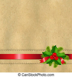 Vintage Paper With Divider And Holly Berry