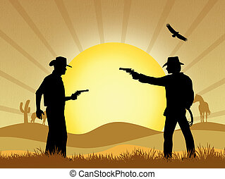 Cowboy duel - illustration of Cowboy duel