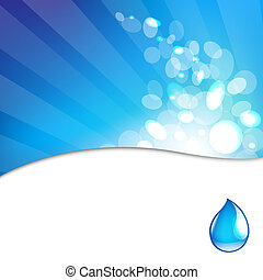 Water Drop Background - Abstract Blue Background With Water...