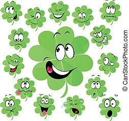 Four leaf clover cartoon with many facial expression -...