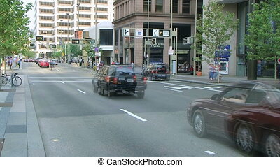 Downtown Traffic Time Lapse - Time lapse of traffic on busy...
