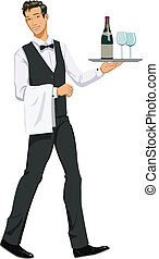 waiter with a tray - Vector illustration of a waiter...