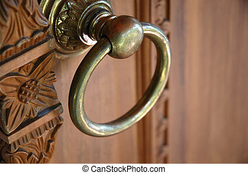 door handle made from bronze and metal