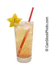 A cold drink in a tall glass with a red drinking straw and a...