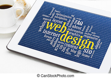 web design word cloud with binary background on a digital...