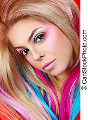 Hair extensions - Portrait of young beautiful girl with...