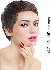 Beauty in pink - Portrait of young beautiful woman with...