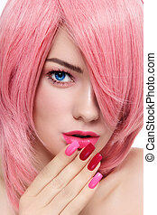 Pink hair and manicure - Close-up portrait of young...