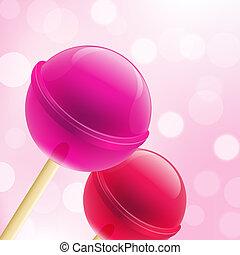 Sweet Lollipops - 2 Sweet Lollipops And Bokeh Background