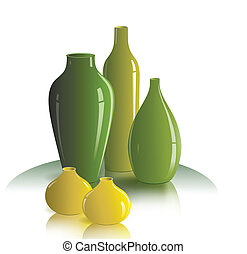 still life of vases - The illustration shows the still life...