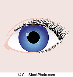 blue eye - realistic eye with blue iris, black algae and...