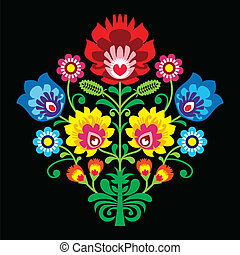 Polish folk embroidery with flowers - Decorative traditional...