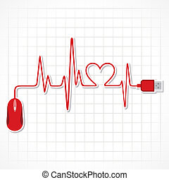 heartbeat with mouse and laptop