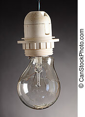 destroyed bulb - a destroyed bulb on a grey background