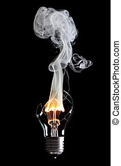 bulb and fire - bulb exploding with fire and smoke