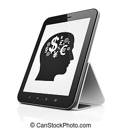 Business concept: black tablet pc computer with Head With Finance Symbol icon on display. Modern portable touch pad on White background, 3d render