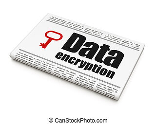 Privacy concept: newspaper with Data Encryption and Key