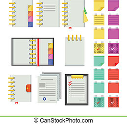 Flat icons for notebooks - Nine icons for light notebooks...