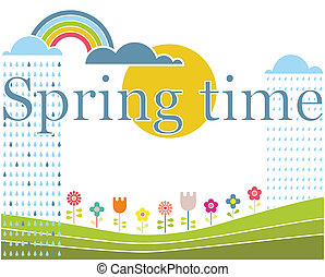 """Spring"" lettering on spring landscape. Vector illustration."