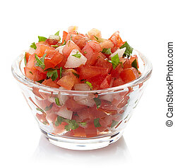 Salsa dip - Bowl of fresh salsa dip isolated on white...
