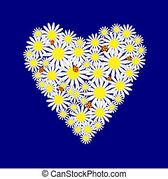 Background with hearts of the daisies