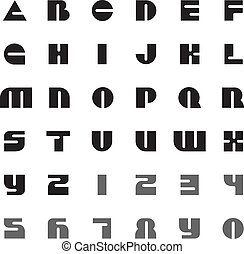Modern font letters and digits
